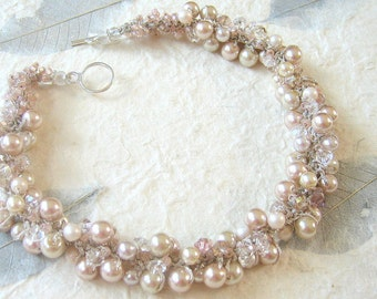ENGLISH Rose, Oyster, Pink Champagne, Pearl Crystal Wedding Necklace/ Cottage Chic, Hand Knit Original, Sereba  Designs Etsy