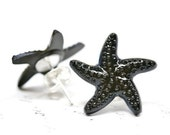 Black Starfish Earrings Black Star Fish Stud Lightweight Plastic Black Earring Starfish Jewelry Nautical Jewelry Beach Earring Ocean Jewelry