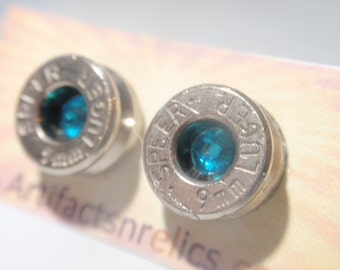 Bullet Jewelry Earrings  - 9mm Stud w Teal / Aqua gem Bullet Jewelry Stud style earrings Nickel plated silver