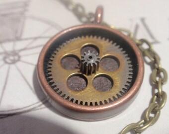 Steampunk Gear pendant necklace copper brass steel