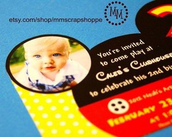 Mickey Mouse Custom PRINTABLE Birthday Invitation with Birthday Child's Photograph