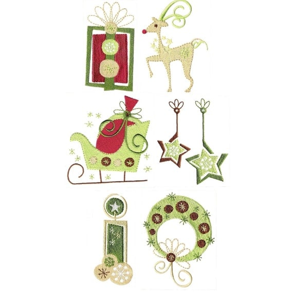 Modern christmas machine embroidery designs two by embroidalot