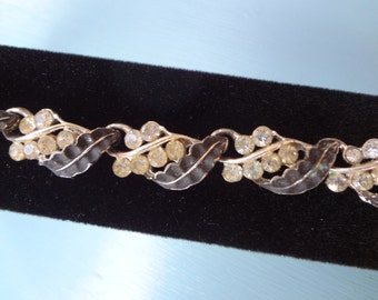 Vintage Feather  Bracelet with Rhinestones  in a Silver Setting