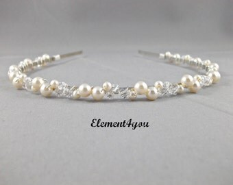 Swarovski pearls crystals Bridal Tiara headband white or ivory Beaded Silver metal band Hair Veil Flower girl Wedding accessories