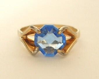 Ring Blue CZ Asscher Gold Plate Vintage