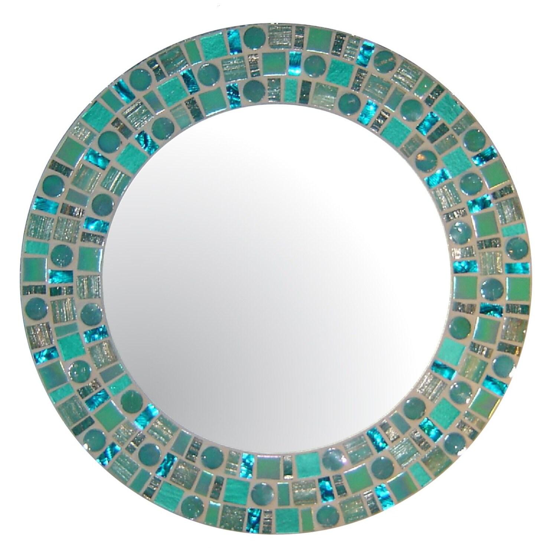 Sea green beach mosaic mirror round glass mosaic for Mosaic mirror