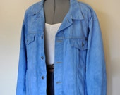 "Blue Mens XL Denim Jean JACKET - Blue Dyed Upcycled Stanley Blacker Denim Trucker Jacket - Adult Mens Plus Size 2X Extra Large (62"" chest)"