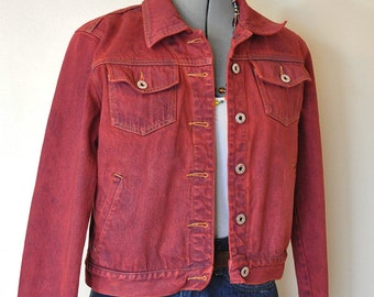 """Red Jrs. Large Denim JACKET - Scarlet Red Dyed Upcycled Express Jeans Denim Cropped Trucker Jacket - Adult Womens Size Large (40"""" chest)"""