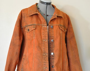 Orange 2X Denim Jacket - Yellow Orange Hand Dyed Upcycled Sonoma Denim Trucker Jacket - Adult Womens Plus Size Extra Large XL (52 chest)