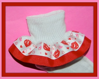 Kissing Lips and Hearts Double Ruffle Socks...You Choose Solid Ribbon Color and Size...SALE