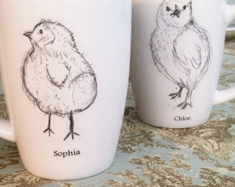 Holiday Gift, Personalized Gift, Couples Gift, Mother's Day gift, Baby Chicks, Mugs, Baby Gift, Personalized Wedding Gift, Cups (set of 2)