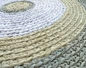 rag rug - round recycled green crochet