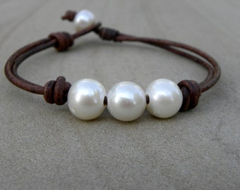 Chocolate Brown Leather and Pearls Knotted Bracelet Summer Surfer Beach