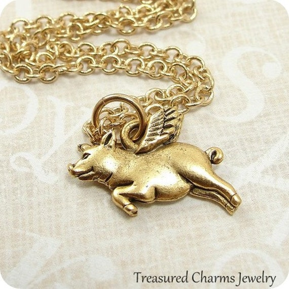 Flying Pig Necklace, Gold Plated Pig with Wings Charm on a Gold Cable Chain