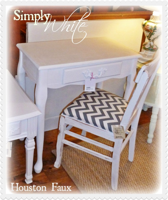 Pure White Petite French Desk or Vanity