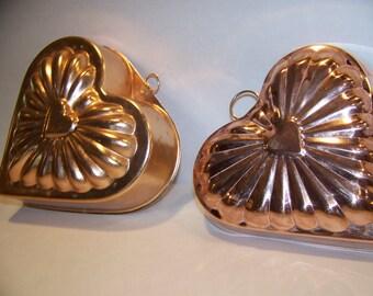Pair of Vintage Copper Mold Jello Mold Heart Hearts Kitchen Decor