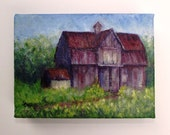 Old Farm Barn - Original Acrylic Painting - 5 x 7