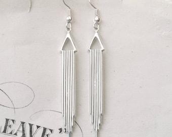 Silver Art Deco Earrings, Dangly Earrings, Drop Earrings, Silver Earrings, Geometric Earrings, Deco Wedding