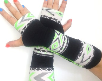 Fingerless long  gloves  with pattern  patchwork gloves
