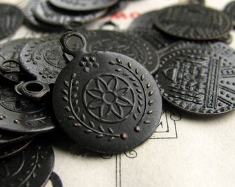 Tiny coin charm, front and back images, 12mm (10 charms) antiqued black brass medallion, aged patina, tiny, small, delicate