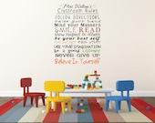 """Teachers Personalized Classroom rules vinyl decal measures 22"""" wide x 28"""" tall"""