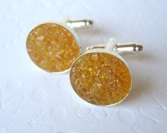 Citrine Cufflinks, Mens Cuff Links, Stained Glass, Anniversary Gift, Druzy Cuff Links
