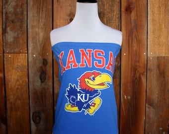 University of Kansas KU Strapless Game Day Top - Size Small