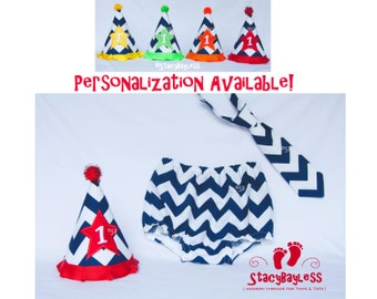 Navy Chevron Cake Smash Outfit includes Hat, Diaper Cover, and Necktie for First Birthday with RED hat accent- by StacyBayless
