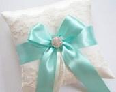 Wedding Ring Pillow, Aqua Blue Ribbon Pillow, with Ivory Net Lace, Rhinestone Centered Satin Bow