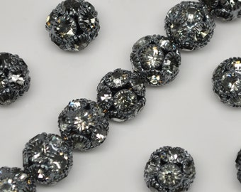 12mm Vintage Silver Toned Metal and Grey Rhinestone Bead Balls 10 or 20 Pieces