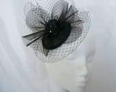 Black Elegant Veil Crinoline & Rhinestone Pearl Sinamay Wedding 'Elizabeth' Fascinator Mini Hat - Custom Made to Order