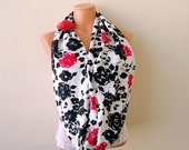 Black and white infinity loop scarf, floral circle scarf with added organza flower