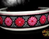 Handmade Martingale Chain Leather Dog Collar DAISY DOT by dogs-art in creme/pink/daisy dot pink