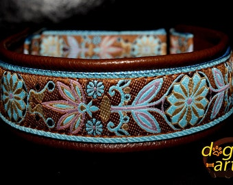 "Dog Collar ""Pinwheel Zinnia"" by dogs-art, martingale collar, leather dog collar, dog collar leather, floral dog collar, limited slip collar"