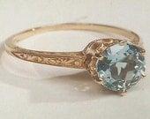 Ring Setting 14K Edwardian Yellow Gold Filigree Mounting, Antique Engagement Ring Vintage, Patterned Band 6.5mm 1 Carat Cts.