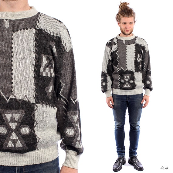 64b78401b21 Men PATCHWORK Sweater . Greyscale Tribal Jumper Winter Pullover Unisex  Urban Hipster Outfit Ikat Style Indie ...