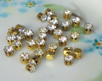 Vintage Swarovski Rhinestones Crystal Prong Pronged Setting Lot Round 3mm NOS. #251