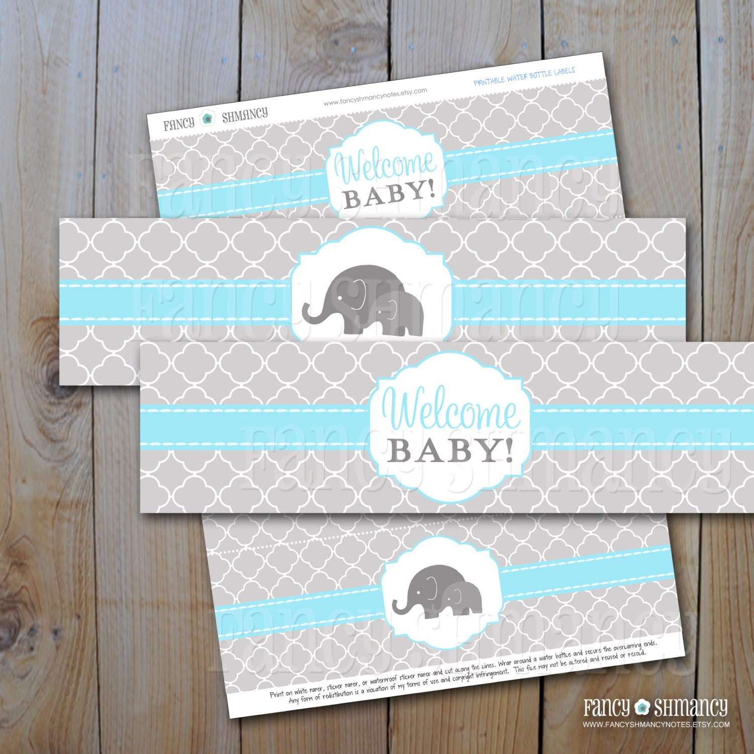 Elephant Baby Shower Water Bottle Labels / Blue and Grey
