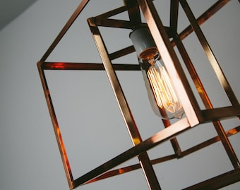 Pendant Light - Industrial Lighting - Edison Lamp - Large Geometric Copper Hanging Light Chandelier - Unique Light Fixture