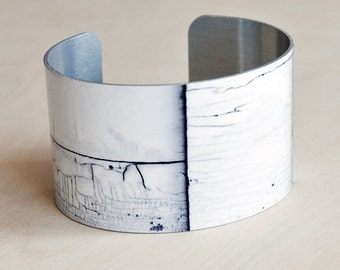 White Wood - Aluminum Cuff Bracelet - Photography - Handmade - Unique Gift - Wearable Art!