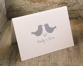 Love Birds Wedding Stationary - Rustic Personalized Stationery - Set of 12