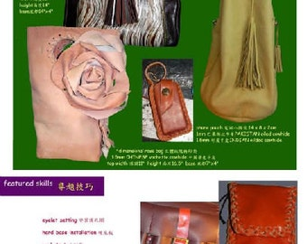 leathercraft pdf tutorial book4 - frame bags / dimensional rose bag / boxer bag plus FREE book about Doctor Bags