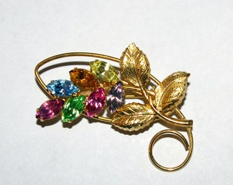 Multi Color Crystal Flower Brooch--Vintage 1970's