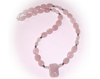Vintage Pink Necklace, Silver tone spacer beads, 1970's