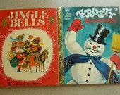 2 Vintage Christmas Golden Books Jingle Bells 1964, Frosty the Snowman1980 Free US Shipping