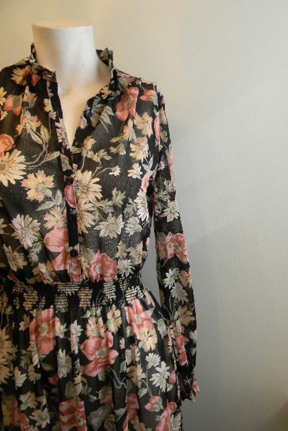 vintage. 70s Sheer Black Floral Dress / S to M / FEMININE Floral