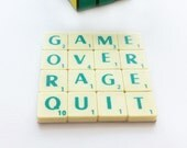 Game Over Coaster, Upcycled Scrabble Tiles, Cork Backing, Geeky Gaming Quotes, Desk Accessories, Gamers Valentine's Gift