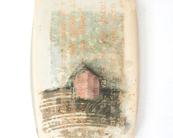 Homestead. Ceramic tile, house, home, rustic, hand painted, text, letters, pink, tan, blue, white, orange, wall decor, decorative.
