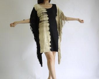Hippie Tunic Top  - Beige & Black Tie Dye Tie Dye Cotton Jersey Raw Tassel Fringe Trim Tunic Dress Women Tops Mini Sundress