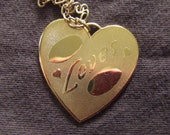 Lot of 7 Engrave-able Gold Love Heart Medallions with 24 inch Chain